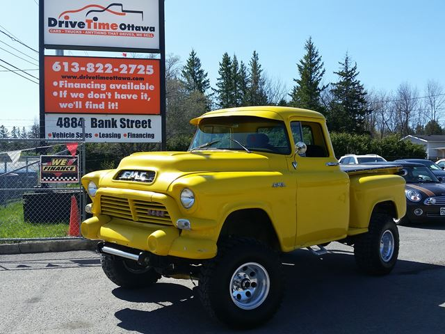 1957 gmc apache napco 3500 4x4 short box stepside yellow drive time ottawa. Black Bedroom Furniture Sets. Home Design Ideas