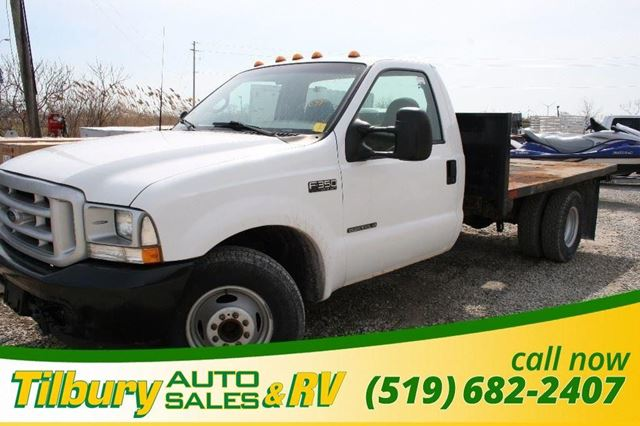 2002 ford f 350 great towing capacity flatbed diesel white tilbury auto sales. Black Bedroom Furniture Sets. Home Design Ideas
