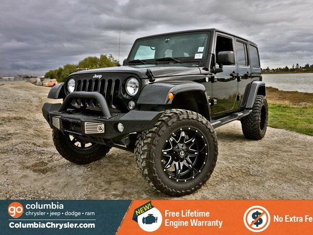 2014 Jeep Wrangler Unlimited SAHARA, LIFTED JEEP WITH STEEL RAMMING BUMPERS, BODY COLOR HARD TOP, LEATHER HEATED SEATS, BLUETOOTH HAND FREE, NO ACCIDENTS, LOCALLY DRIVEN, 1 OWNER, FREE LIFETIME ENGINE WARRANTY! in Richmond, British Columbia