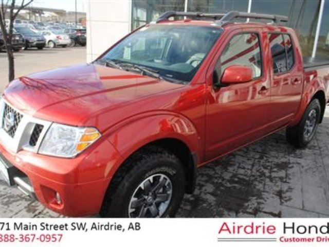 2015 nissan frontier pro 4x c s with leather red airdrie honda. Black Bedroom Furniture Sets. Home Design Ideas