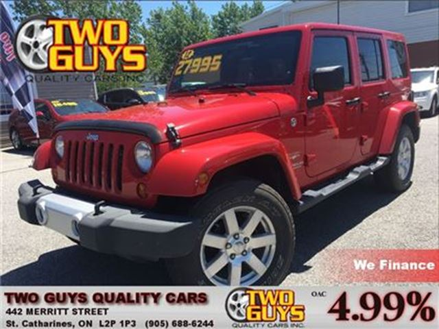 2012 JEEP WRANGLER Unlimited Sahara 4WD  TWO TOPS CHROME MAGSW/REMOVABLE HARDTO in St Catharines, Ontario