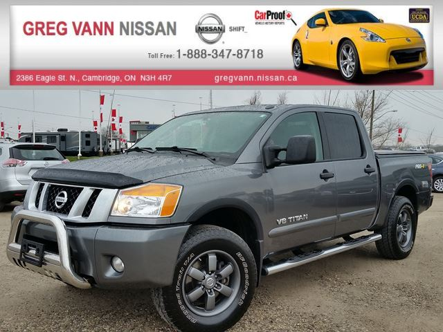 2015 Nissan Titan PRO-4X 4x4 w/all leather,pwr moonroof,NAV,rear cam,running boards,tonneau cover,heated seats in Cambridge, Ontario