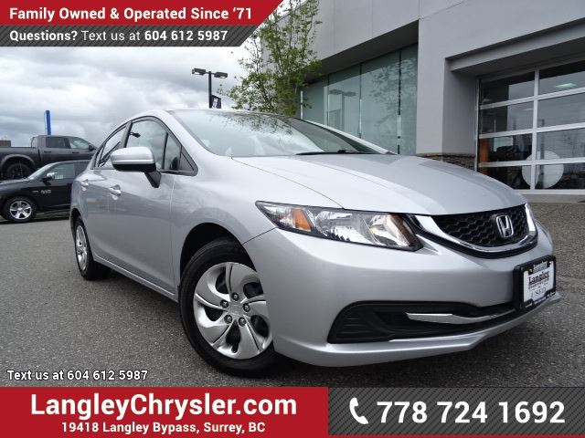 2014 HONDA CIVIC LX ACCIDENT FREE w/ POWER WINDOWS/LOCKS, HEATED FRONT SEATS & A/C in Surrey, British Columbia
