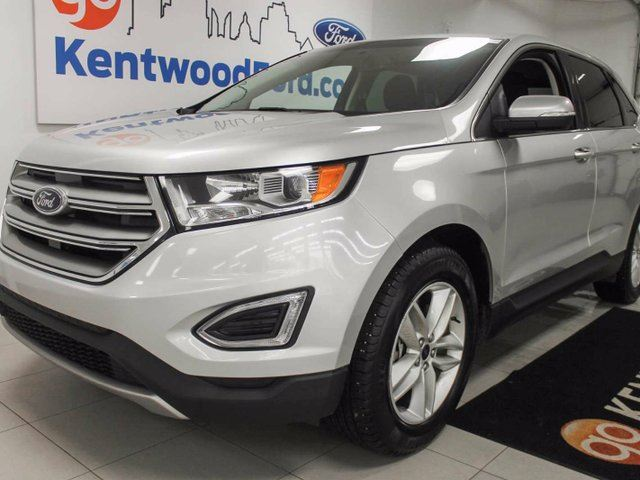 2016 Ford Edge SEL AWD with heated seats, keyless entry, push start, and a dazzling silver colour in Edmonton, Alberta