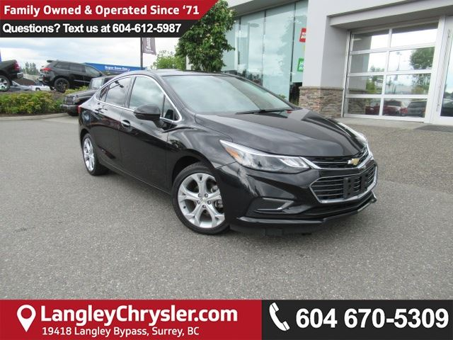 2017 CHEVROLET CRUZE Premier Auto ACCIDENT FREE w/ LEATHER UPHOLSTERY, HEATED FRONT SEATS & REAR-VIEW CAMERA in Surrey, British Columbia