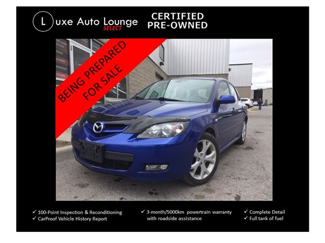 2009 Mazda MAZDA3 GT - LOW KM! SUNROOF, HEATED SEATS, HID XENON LIGHTS, ALLOYS, CLEAN!! LUXE CERTIFIED PRE-OWNED! in Orleans, Ontario