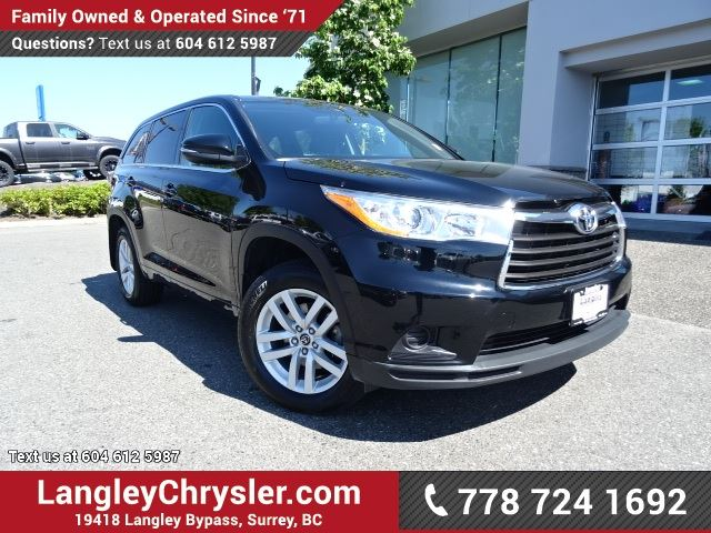 2016 TOYOTA HIGHLANDER LE ACCIDENT FREE w/ ALL-WHEEL DRIVE, REAR-VIEW CAMERA & 8-PASSENGER in Surrey, British Columbia