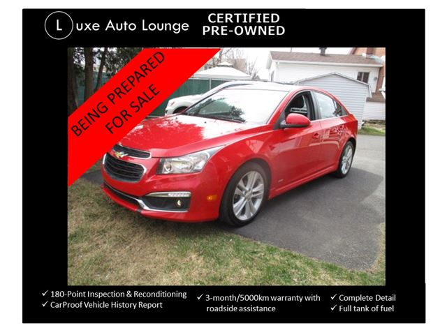 2015 Chevrolet Cruze 2LT - RS PACKAGE, LEATHER, AUTO, SUNROOF, BACK-UP CAMERA, PIONEER AUDIO, LUXE CERTIFIED PRE-OWNED! in Orleans, Ontario