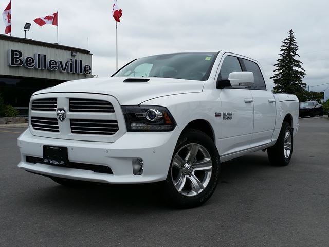 2017 Dodge RAM 1500 CREW SPORT - LOADED!! - RAMBOX - LEATHER - SUNROOF - ALPINE SOUND - AIR SUSPENSION- REMOTE START - FRONT AND REAR PARK ASSIST in Belleville, Ontario
