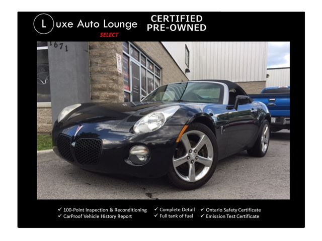 2007 Pontiac Solstice LEATHER, 5-SPEED, POWER GROUP, CD, POLISHED WHEELS, A/C, LOADED!! in Orleans, Ontario
