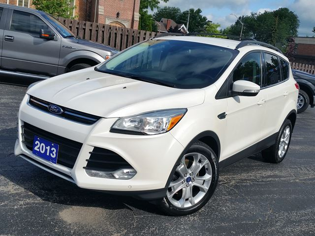 2013 Ford Escape SEL,2.0 LTR,NAVIGATION,POWER HEATED LEATHER,DUAL- AC- CONTROLS,POWER TAIL GATE,REMOTE START,PARKING AID,BALANCE FACTORY WARRANTY,diamond white in Dunnville, Ontario