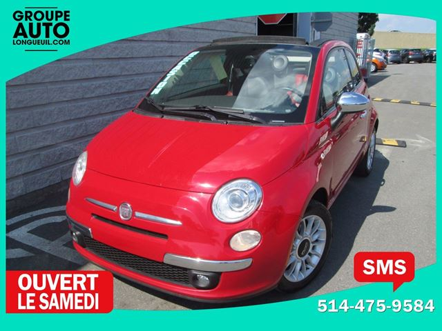 2012 FIAT 500 *LOUNGE*CONVERTIBLE*ROUGE*CUIR ROUGE* in Longueuil, Quebec