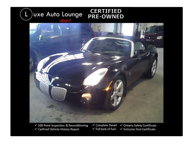 2006 PONTIAC SOLSTICE ONLY 46,000KM!! LEATHER, POWER GROUP, POLISHED WHEELS, A/C, KEYLESS, LUXE SELECT CERTIFIED PRE-OWNED! in Orleans, Ontario