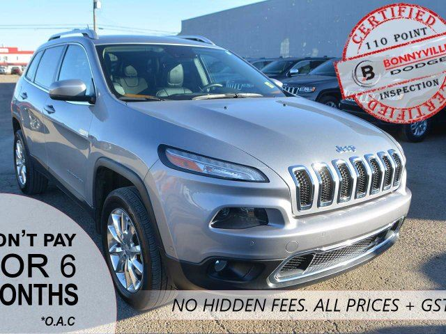 2014 Jeep Cherokee LIMITED, LEATHER, DUAL PANE PANORAMIC SUNROOF, UNDER 51,000KMS in Bonnyville, Alberta