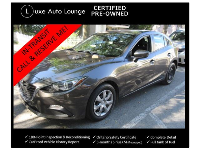 2015 Mazda MAZDA3 GX SPORT HATCHBACK! ONLY 43K! POWER GROUP, BLUETOOTH, A/C, PUSH-BUTTON START! LUXE CERTIFIED PRE-OWNED! in Orleans, Ontario