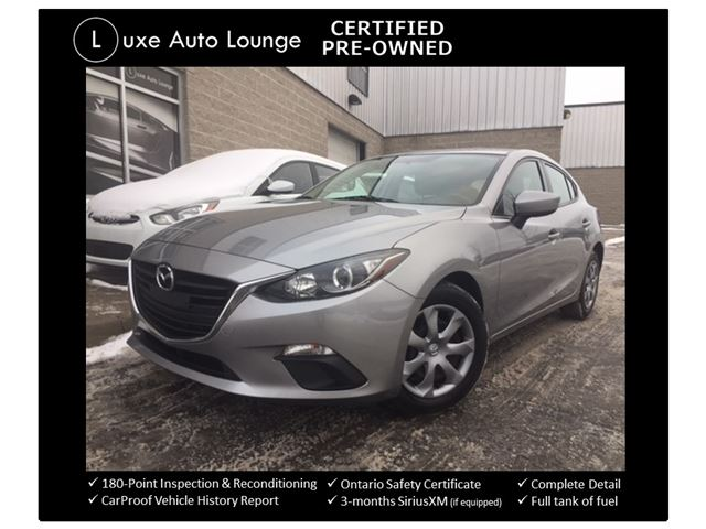 2015 Mazda MAZDA3 GX SPORT HATCHBACK! ONLY 49K! POWER GROUP, BLUETOOTH, A/C, PUSH-BUTTON START! LUXE CERTIFIED PRE-OWNED! in Orleans, Ontario