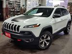 2015 Jeep Cherokee Trailhawk,3.2-V6,LEATHER,HEATED SEATS,HEATED STEERING WHEEL,,SUNROOF,SELECT-4X4,REMOTE START,NAVIGATION MEMORY POWER SEAT,,BALANCE FACTORY WARRANTY,5 YR.100,000 KLM,POWERTRAIN,RUST PROOF UNDERCOATED in Dunnville, Ontario