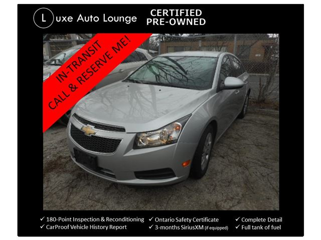 2014 Chevrolet Cruze 1LT - AUTO, KEYLESS ENTRY, BLUETOOTH, SATELLITE RADIO, BAL. OF GM WARRANTY! LUXE CERTIFIED PRE-OWNED!! in Orleans, Ontario
