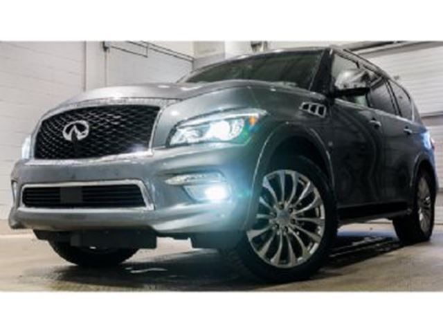 2017 INFINITI QX80 4WD Deluxe Technology + Theatre packs, 8 Passenger in Mississauga, Ontario