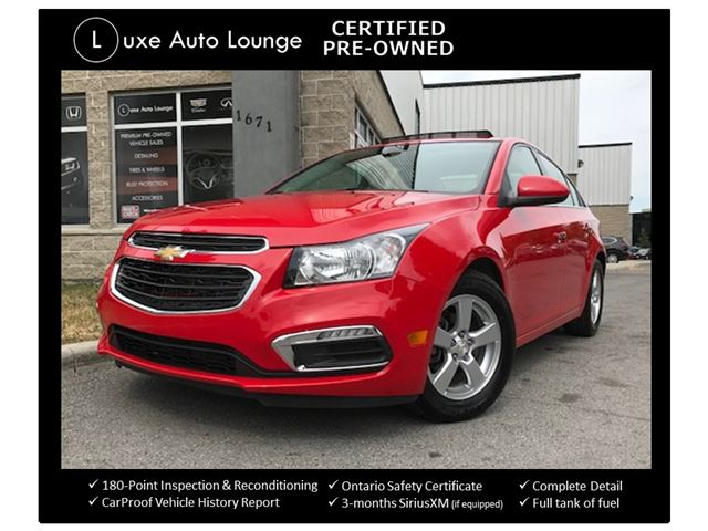 2015 Chevrolet Cruze 2LT ONLY 25,000KM!! LEATHER, SUNROOF, HEATED SEATS, AUTO, REMOTE START, LUXE CERTIFIED PRE-OWNED!! in Orleans, Ontario