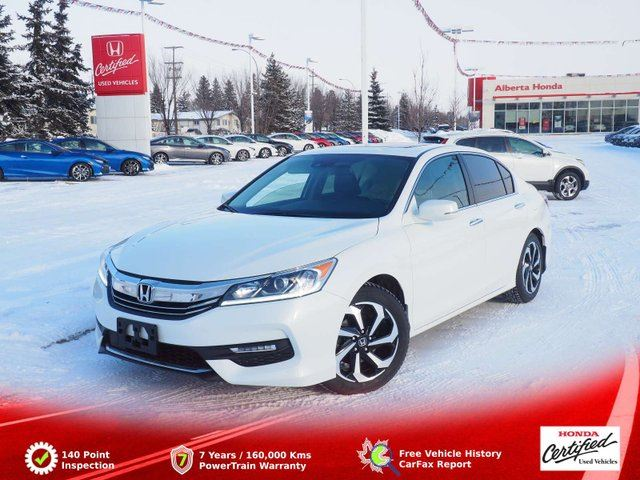 2017 HONDA ACCORD  EX-L. Eco. Low Kms. Clean Carproof. Honda Sensing. Back-up and LaneWatch Cameras. Sunroof. Heated Leather Seats. Dual Climate. 2 Sets of Tires. All Weather Floor and Trunkbed Mats in Edmonton, Alberta