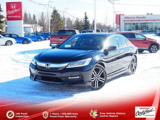2016 HONDA Accord  Touring. Low Kms. Remote Starter. Eco. Honda Sensing. Sunroof. Back-up and LaneWatch Cams. Heated Leather Seats. Dual Climate. Wireless Charging. HomeLink in Edmonton, Alberta