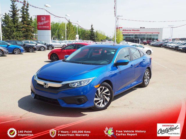 2017 HONDA Civic EX. Low KMs. Eco. Honda Sensing and Remote Starter. Sunroof. LaneWatch and Back-up Cams. Heated Seats. Proximity Entry. Vehicle Stability Assist. Dual Climate. Bluetooth. A/W Mats in Edmonton, Alberta
