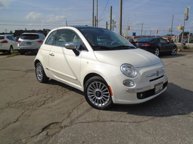 2012 FIAT 500 2dr HB LOW KM SUNROOF RED LEATHER ALLOY PW PM PL K in Oakville, Ontario