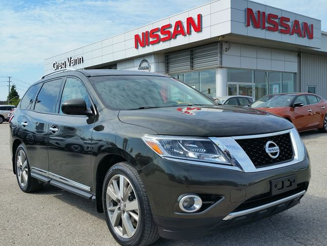 2016 NISSAN Pathfinder Platinum 4x4 w/all leather,NAV,dual rear DVD,climate control,rear cam,panoramic roof,heated seats,lane assist,3rd row seating,cooled seats in Cambridge, Ontario